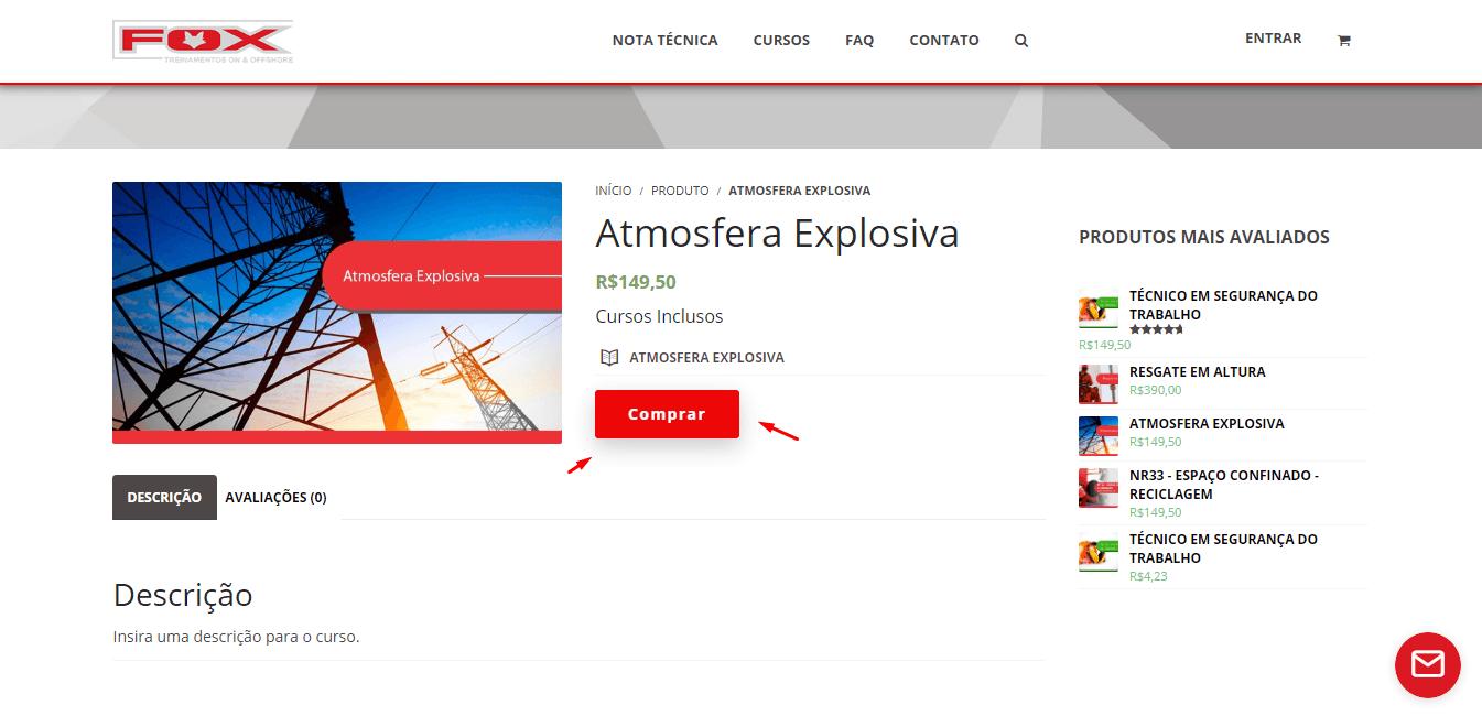 """24ab3365369a 5. Ao clicar em comprar o curso será adicionado ao carrinho. Nessa mesma  página clique em """"FINALIZAR COMPRA"""""""